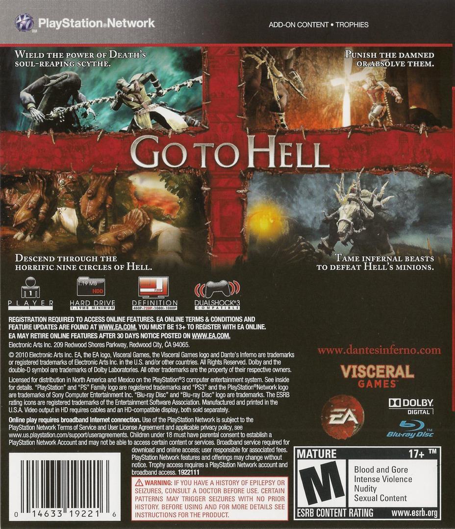 Dante's Inferno (Divine Edition) PS3 backHQB (BLUS30405)