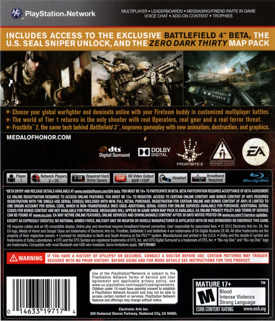 Medal of Honor: Warfighter PS3 backHQB (BLUS30990)