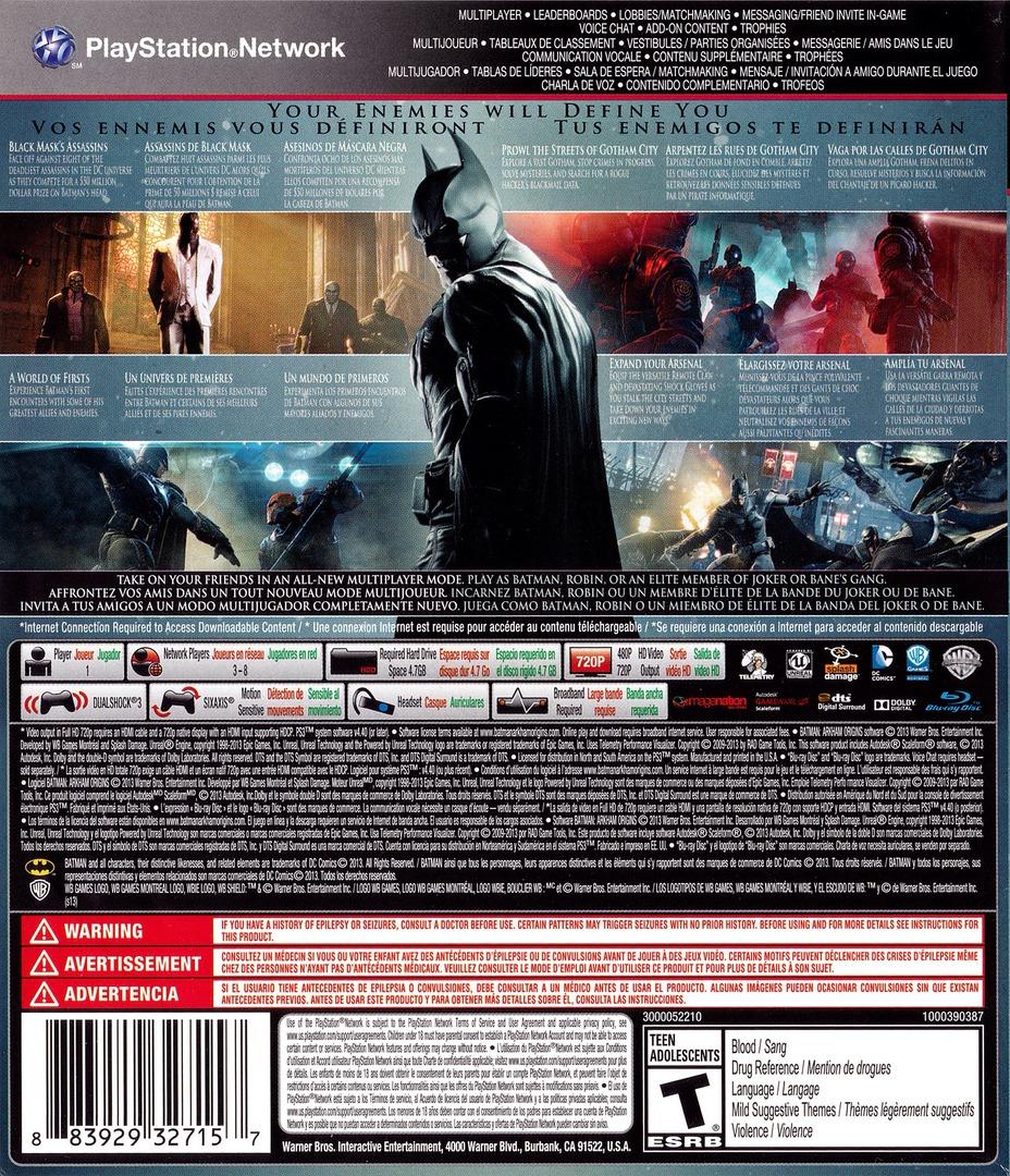 Batman: Arkham Origins PS3 backHQB (BLUS31147)