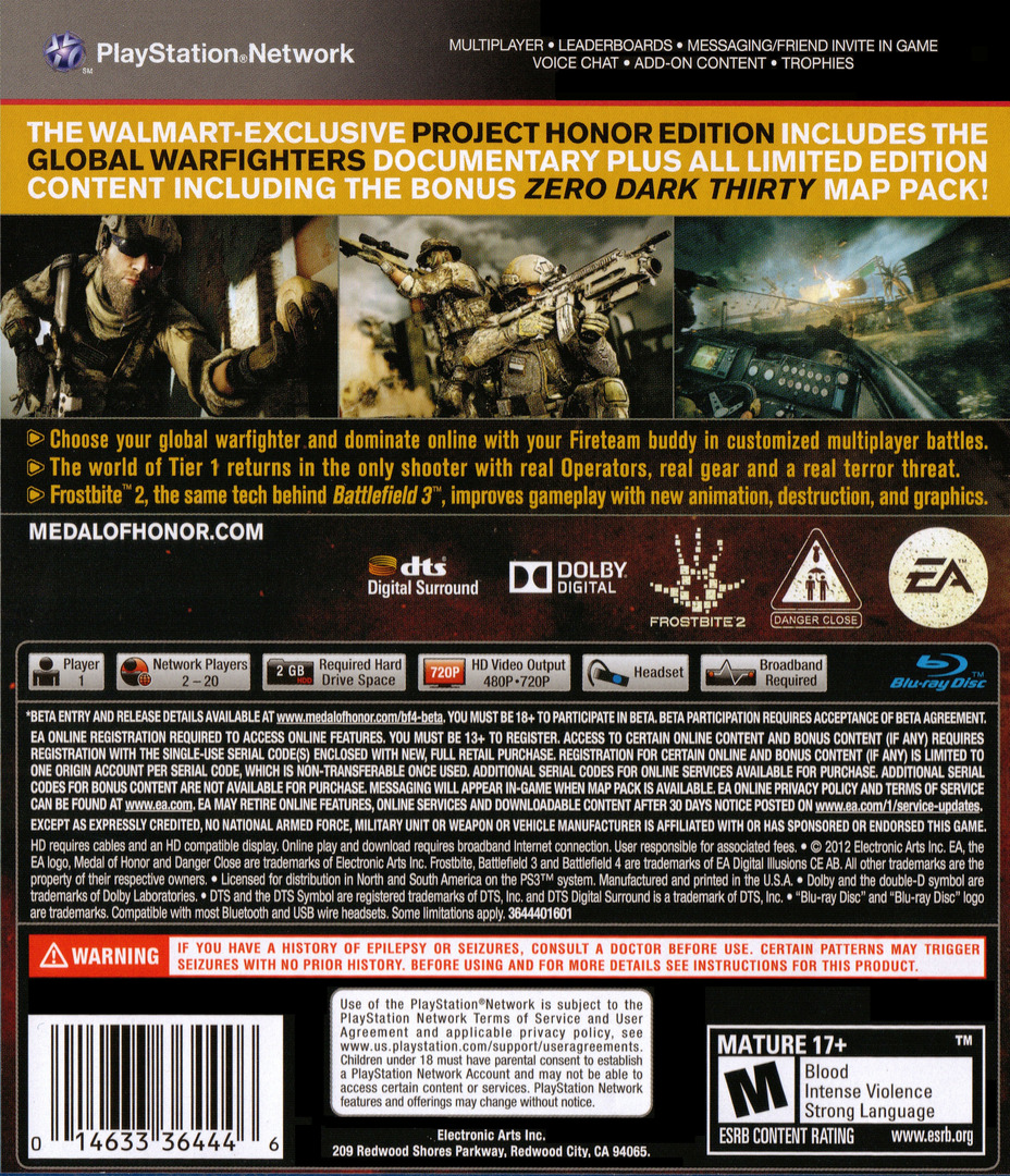 Medal of Honor: Warfighter PS3 backHQB2 (BLUS30990)
