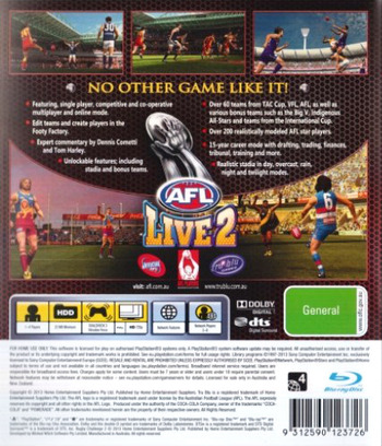 AFL Live 2 PS3 backM (BLES01875)