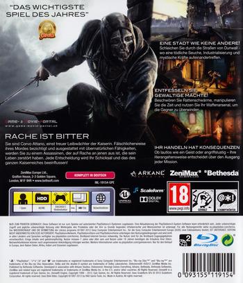Dishonored: Die Maske des Zorns PS3 backM (BLES01675)