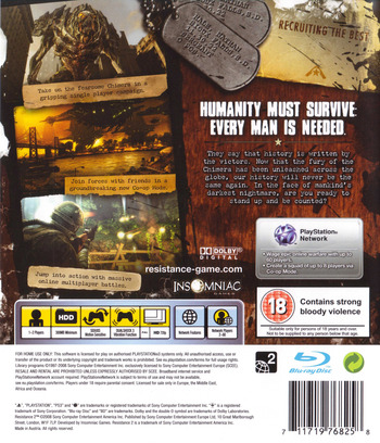Resistance 2 PS3 backM (BCES00226)