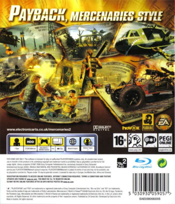 Mercenaries 2: World in Flames PS3 backM (BLES00323)