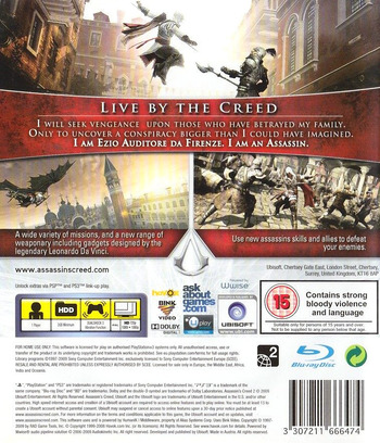 Assassin's Creed II: Complete Edition PS3 backM (BLES00670)