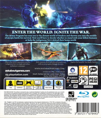 James Cameron's Avatar: The Game PS3 backM (BLES00753)