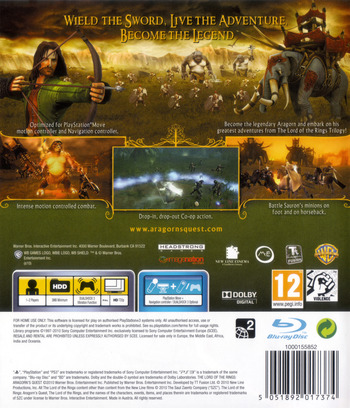 The Lord of the Rings: Aragorn's Quest PS3 backM (BLES00998)