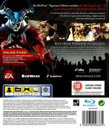 Dragon Age II (Bioware Signature Edition) PS3 backM (BLES01084)