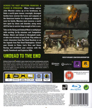 Red Dead Redemption: Undead Nightmare PS3 backM (BLES01179)