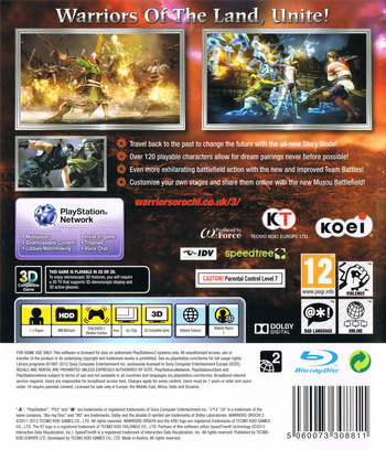 Warriors Orochi 3 PS3 backM (BLES01588)