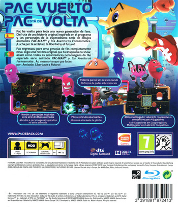 Pac-Man y las Aventuras Fantasmales PS3 backM (BLES01901)