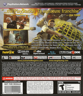 Uncharted 3: Drake's Deception PS3 backM (BCUS90675)