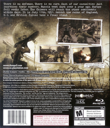 Resistance: Fall of Man PS3 backM (BCUS98107)