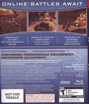 Warhawk (With Headset) PS3 backM (BCUS98117)