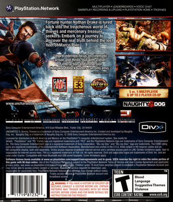 Uncharted 2: Among Thieves PS3 backM (BCUS98123)