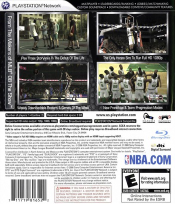 NBA '09: The Inside PS3 backM (BCUS98165)