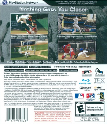 MLB 09: The Show PS3 backM (BCUS98180)