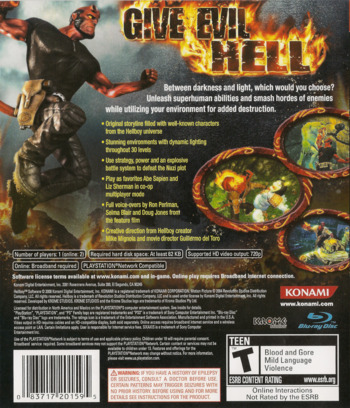 Hellboy: Science of Evil PS3 backM (BLUS30048)