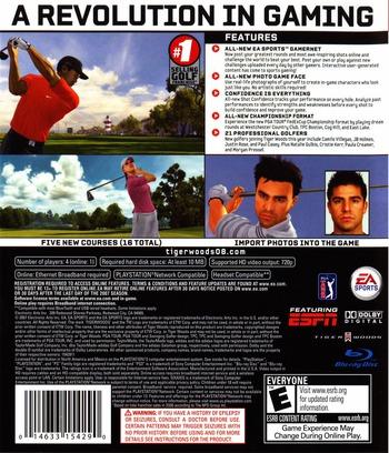 Tiger Woods PGA Tour 08 PS3 backM (BLUS30053)