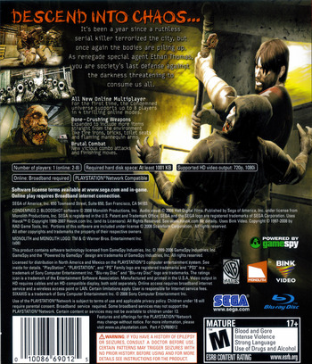 Condemned 2: Bloodshot PS3 backM (BLUS30115)