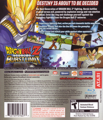Dragon Ball Z: Burst Limit PS3 backM (BLUS30117)