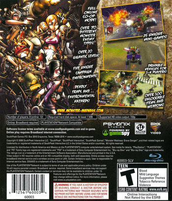 Monster Madness: Grave Danger PS3 backM (BLUS30140)