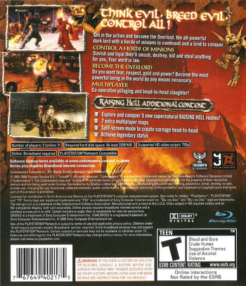 Overlord: Raising Hell PS3 backM (BLUS30143)