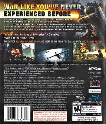 Call of Duty: World at War PS3 backM (BLUS30192)