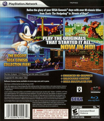 Sonic's Ultimate Genesis Collection PS3 backM (BLUS30259)