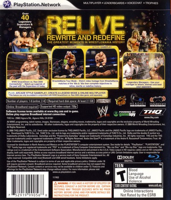 WWE Legends of Wrestlemania PS3 backM (BLUS30269)