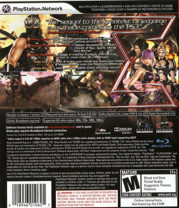 Ninja Gaiden: Sigma 2 PS3 backM (BLUS30380)