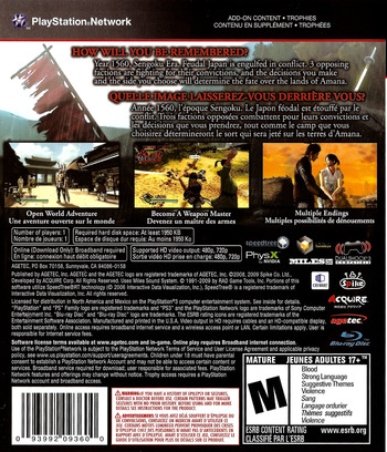 Way of the Samurai 3 PS3 backM (BLUS30398)