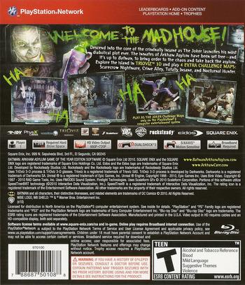 Batman: Arkham Asylum (Game of the Year Edition) PS3 backM (BLUS30515)
