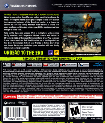 Red Dead Redemption: Undead Nightmare Collection PS3 backM (BLUS30711)