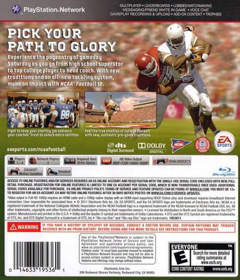 NCAA Football 12 PS3 backM (BLUS30745)
