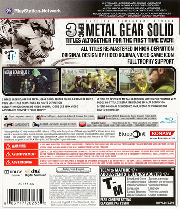 Metal Gear Solid: HD Collection PS3 backM (BLUS30847)