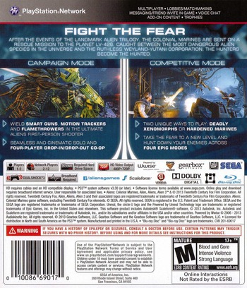 Aliens: Colonial Marines PS3 backM (BLUS30862)