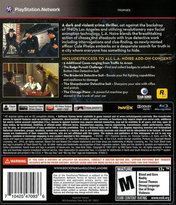 L.A. Noire - The Complete Edition PS3 backM (BLUS30898)