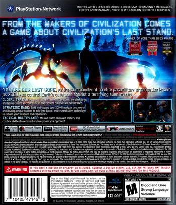 XCOM: Enemy Unknown PS3 backM (BLUS30943)