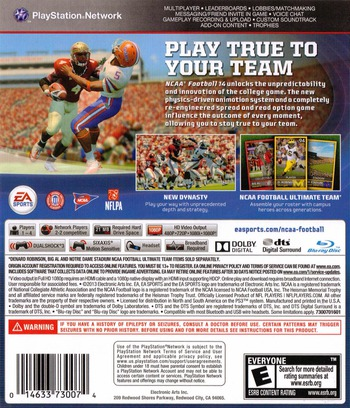 NCAA Football 14 PS3 backM (BLUS31159)