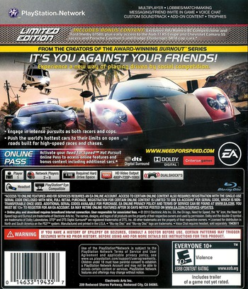 Need for Speed: Hot Pursuit PS3 backM2 (BLUS30566)