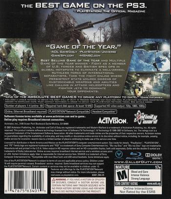 Call of Duty 4: Modern Warfare PS3 backMB (BLUS30072)