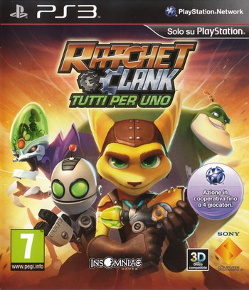 Ratchet & Clank: Tutti per uno PS3 coverM (BCES01141)