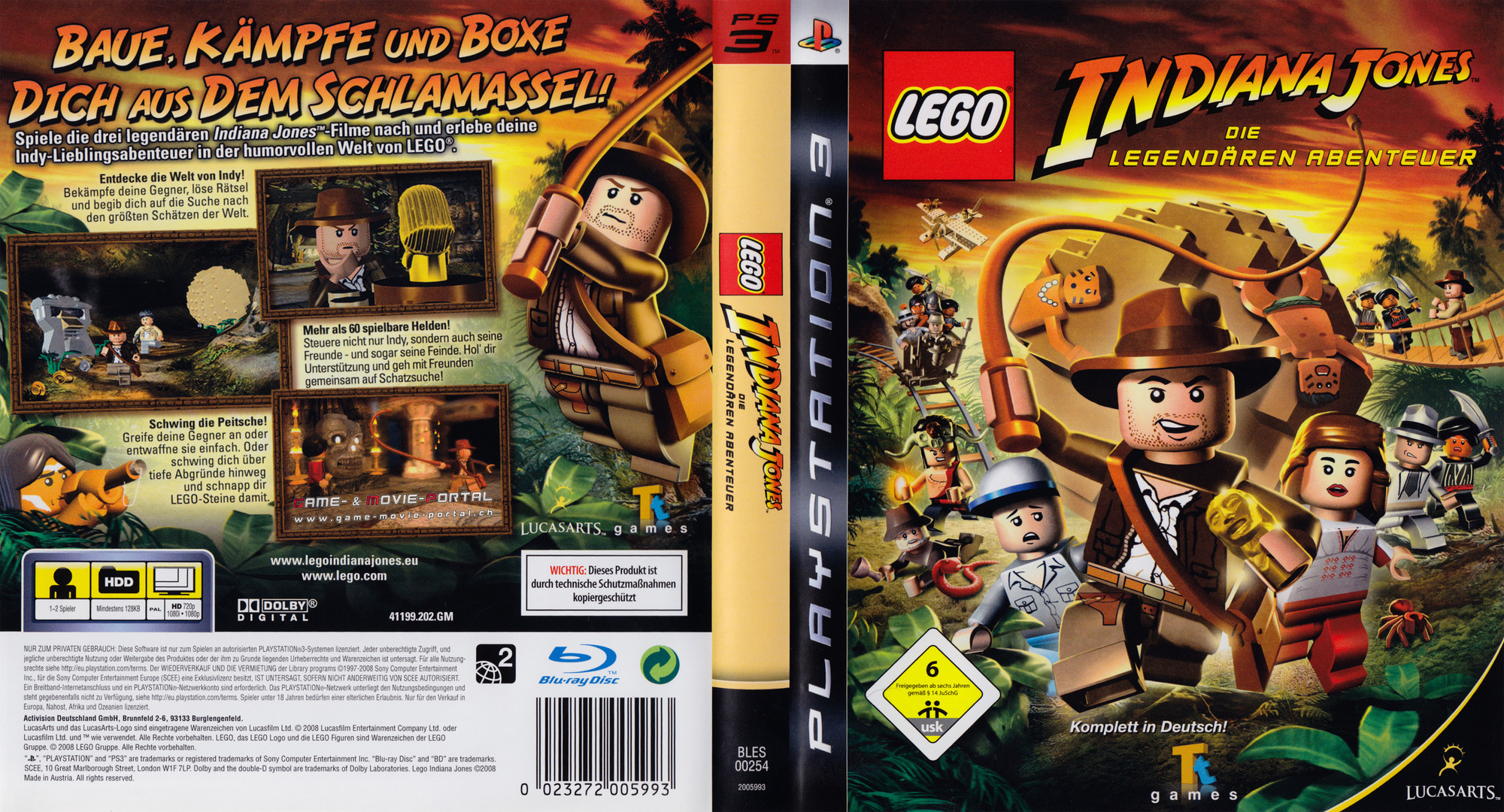 Lego Indiana Jones: Die Legendären Abenteuer PS3 coverfullHQ (BLES00254)