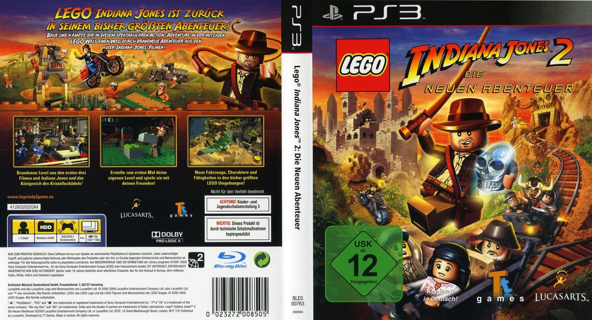 LEGO Indiana Jones 2: Die Neuen Abenteuer PS3 coverfullHQ (BLES00763)
