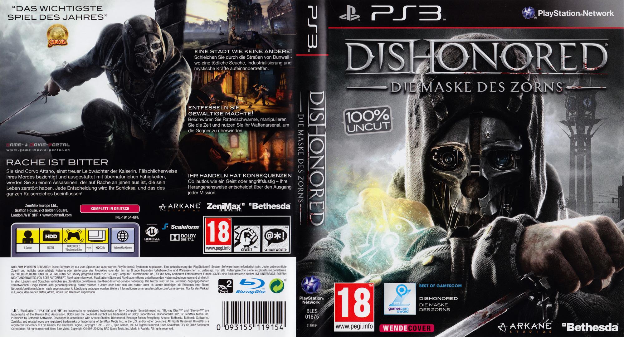 Dishonored: Die Maske des Zorns PS3 coverfullHQ (BLES01675)