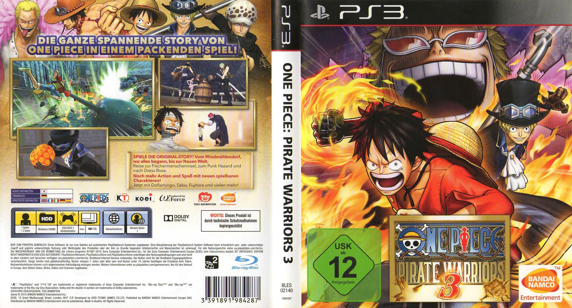 One Piece Pirate Warriors 3 PS3 coverfullHQ (BLES02140)