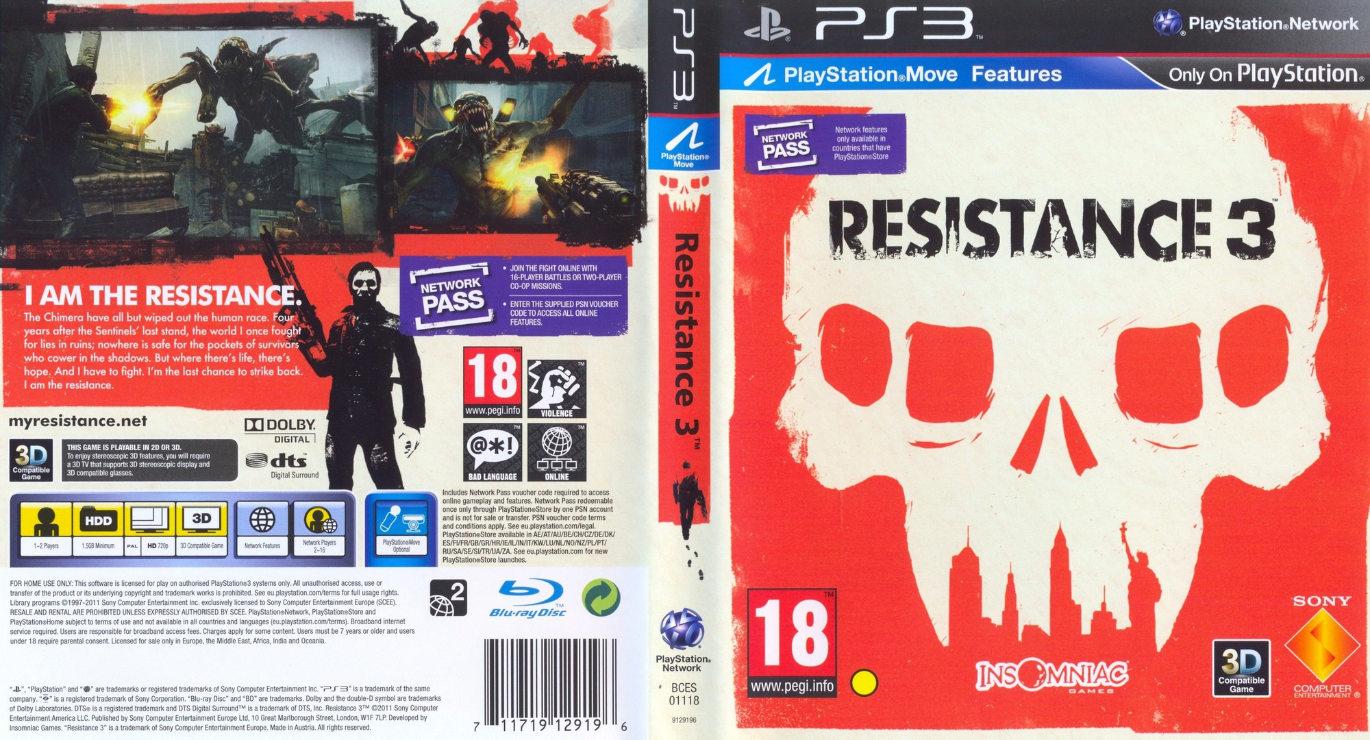 Resistance 3 PS3 coverfullHQ (BCES01118)