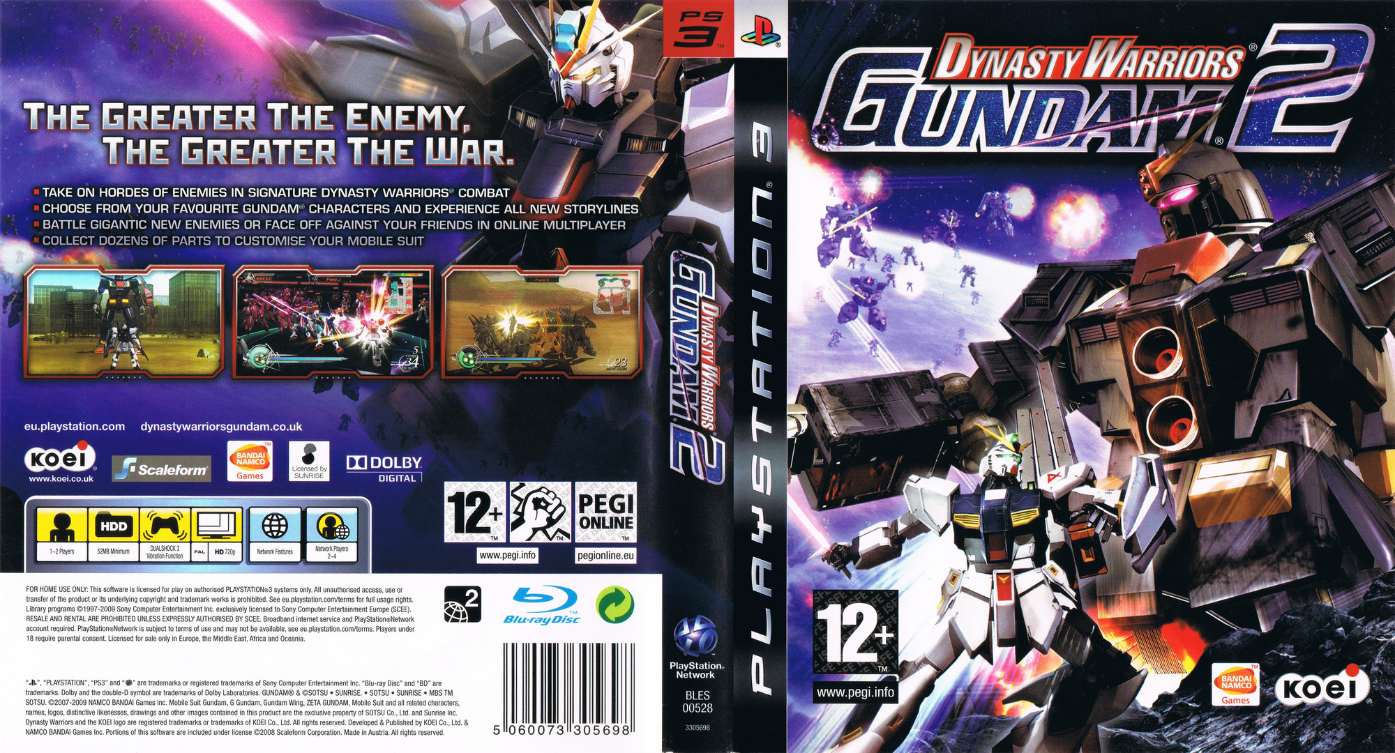 Dynasty Warriors: Gundam 2 PS3 coverfullHQ (BLES00528)