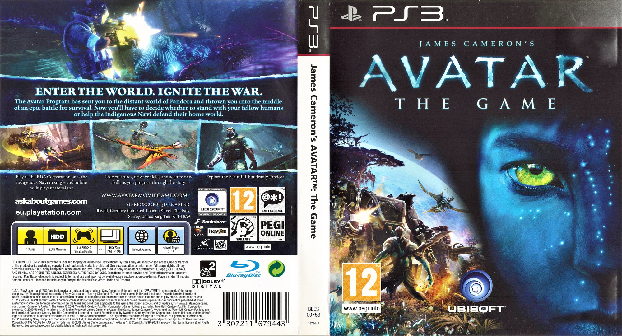 James Cameron's Avatar: The Game PS3 coverfullHQ (BLES00753)